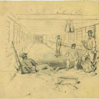 Camp Sketches: Interior of a Bombproof during the Siege of Petersburg