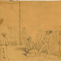 Camp Sketches: Soldiers Playing at Ten Pins (Siege of Petersburg)