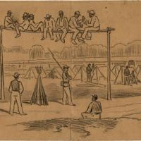 Scene in One of the Camps of the Negro Regiment: Mode of Punishing Negro Soldiers for Various Offences (Siege of Petersburg)
